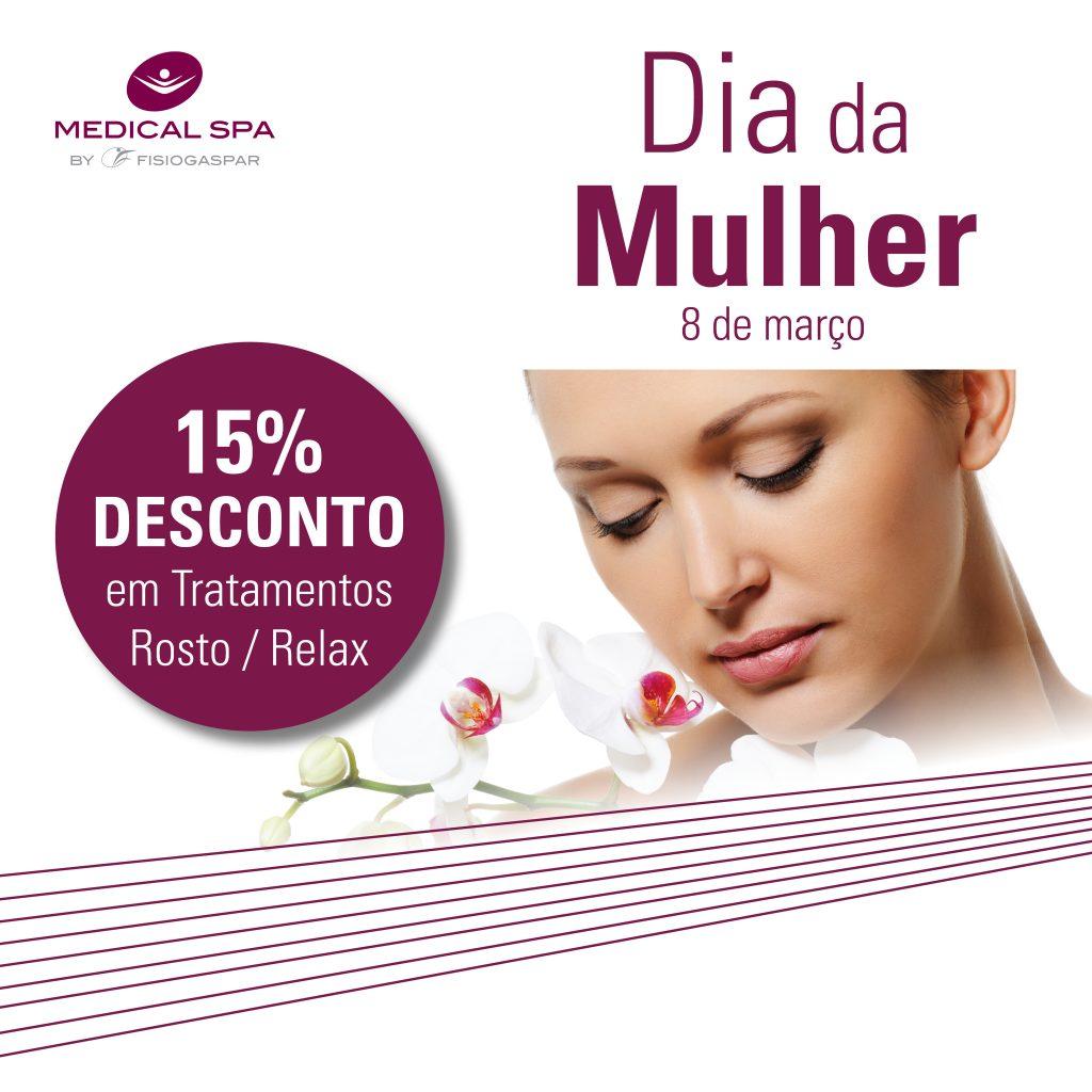 Dia da mulher 15% desconto em tratamentos rosto e relax